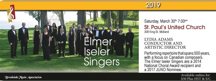 Brookside Music Association present the Elmer Iseler Singers on March 30, 2019