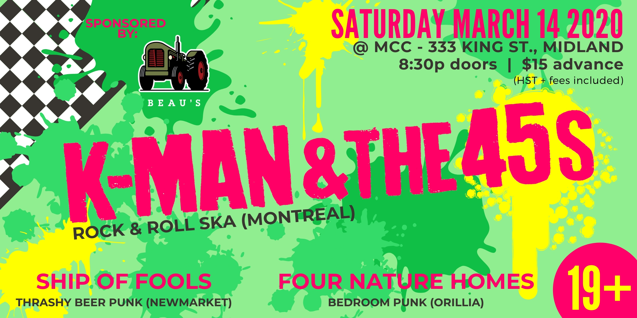 K-Man & the 45s, Ship of Fools, Four Nature Homes @ MCC. 19+